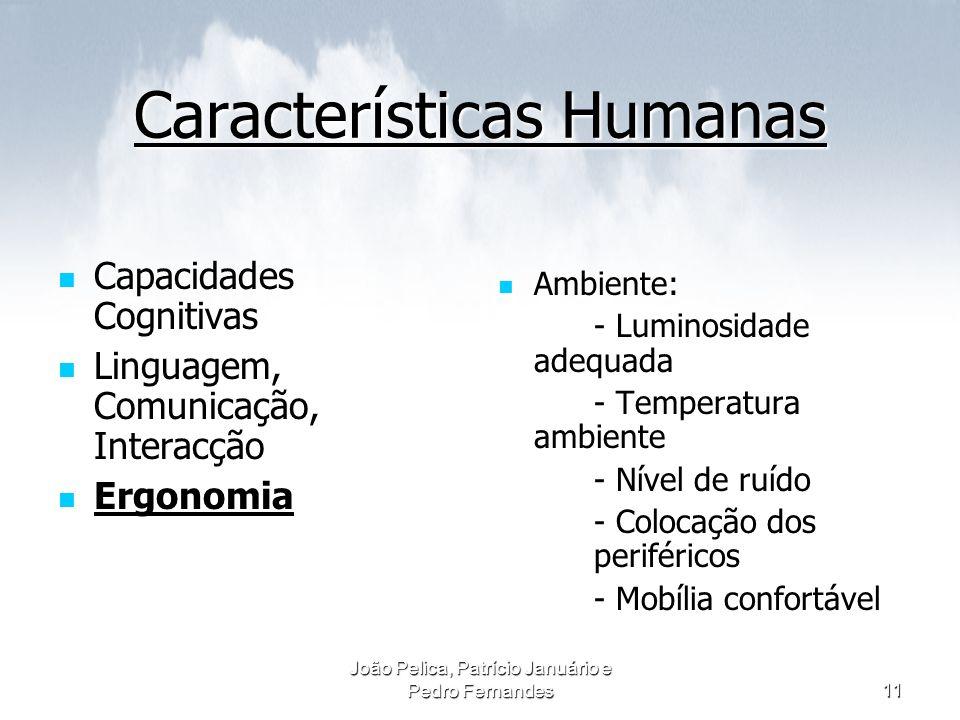 João Pelica, Patrício Januário e Pedro Fernandes11 Características Humanas Capacidades Cognitivas Capacidades Cognitivas Linguagem, Comunicação, Inter