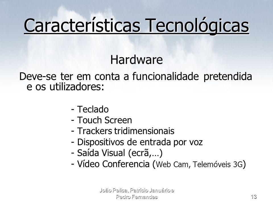 João Pelica, Patrício Januário e Pedro Fernandes13 Características Tecnológicas Características Tecnológicas Hardware Deve-se ter em conta a funcional