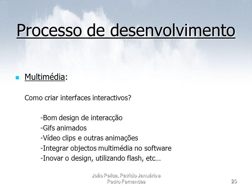 João Pelica, Patrício Januário e Pedro Fernandes20 Processo de desenvolvimento Multimédia: Como criar interfaces interactivos? -Bom design de interacç