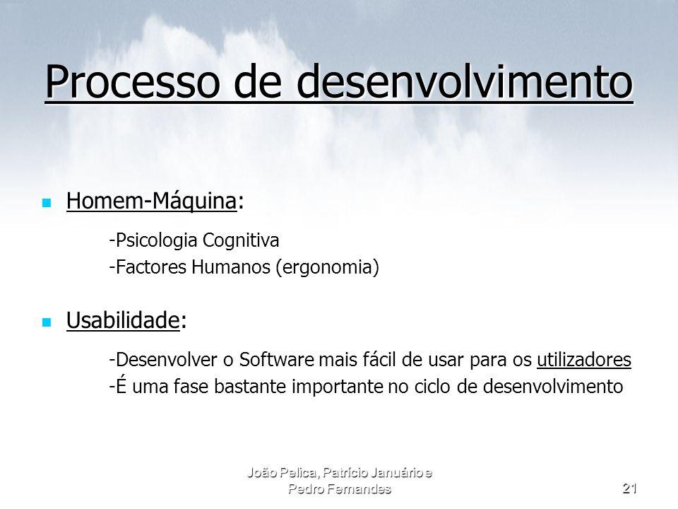 João Pelica, Patrício Januário e Pedro Fernandes21 Processo de desenvolvimento Homem-Máquina: -Psicologia Cognitiva -Factores Humanos (ergonomia) Usab