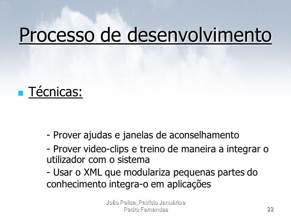 João Pelica, Patrício Januário e Pedro Fernandes22 Processo de desenvolvimento Técnicas: - Prover ajudas e janelas de aconselhamento - Prover video-cl