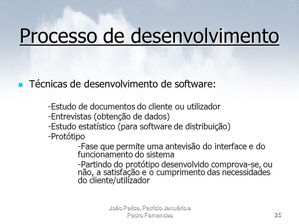 João Pelica, Patrício Januário e Pedro Fernandes25 Processo de desenvolvimento Técnicas de desenvolvimento de software: -Estudo de documentos do clien