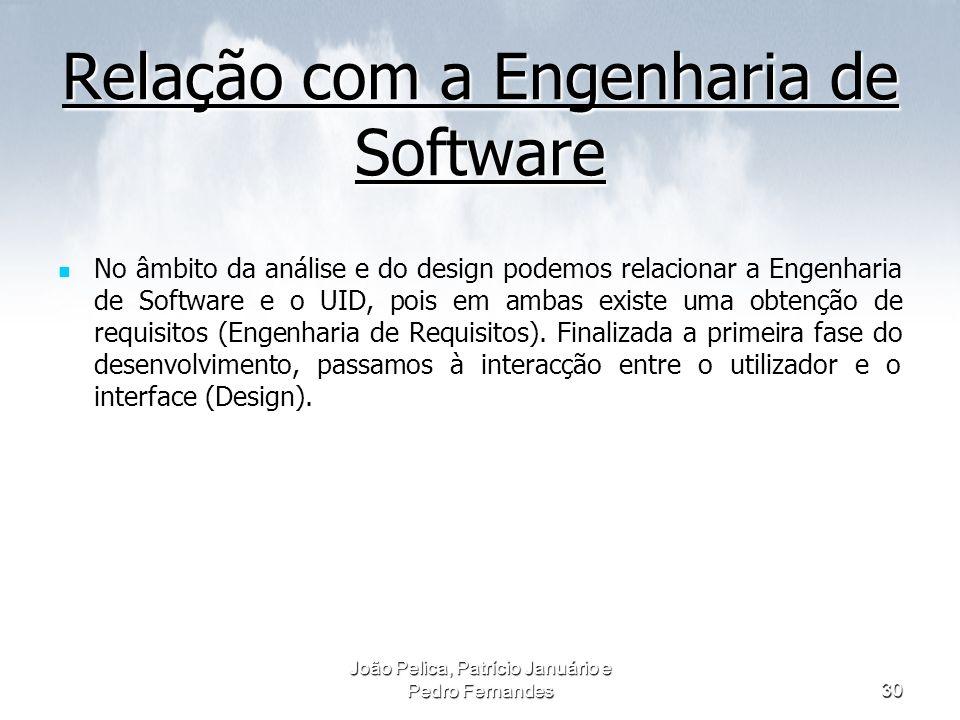 João Pelica, Patrício Januário e Pedro Fernandes30 Relação com a Engenharia de Software No âmbito da análise e do design podemos relacionar a Engenhar
