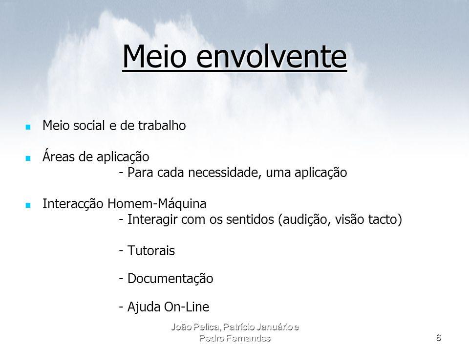João Pelica, Patrício Januário e Pedro Fernandes6 Meio envolvente Meio social e de trabalho Meio social e de trabalho Áreas de aplicação Áreas de apli