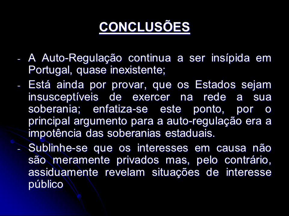 CONCLUSÕES - A Auto-Regulação continua a ser insípida em Portugal, quase inexistente; - Está ainda por provar, que os Estados sejam insusceptíveis de