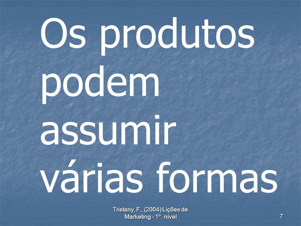 Tristany, F., (2004) Lições de Marketing - 1º. nível7 Os produtos podem assumir várias formas