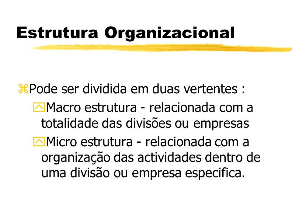 Estrutura Organizacional zPode ser dividida em duas vertentes : yMacro estrutura - relacionada com a totalidade das divisões ou empresas yMicro estrut