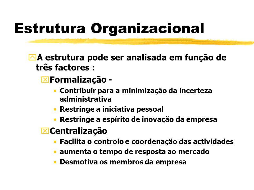 Estrutura Organizacional yA estrutura pode ser analisada em função de três factores : xFormalização - Contribuir para a minimização da incerteza admin
