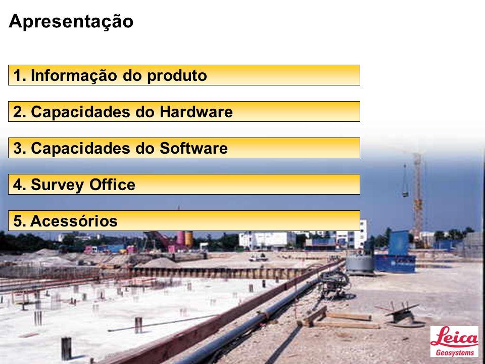 Página 13 Capacidades do Software Levantamento Piquetagem Estação Livre Distância Ligada Altura Remota Linha de Base Área Funções Índice Construção
