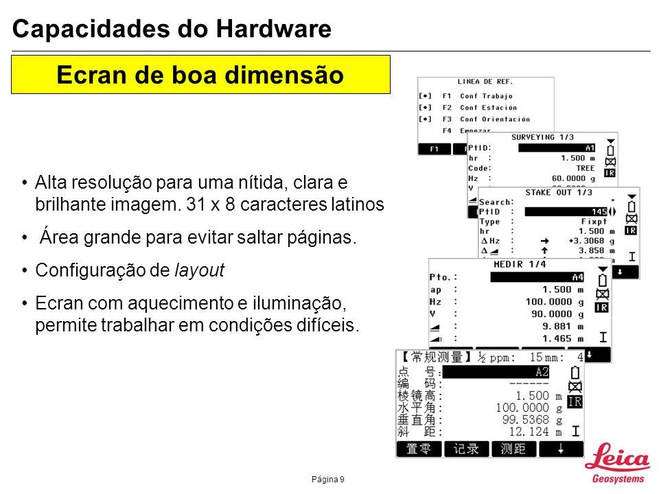Página 10 Capacidades do Hardware Coaxial Infrared (IR) - EDM Precisão: 2 mm + 2 ppm Taxa de medição: <0.5 s em modo rápido Alcance: 3000 m Coaxial fast Reflectorless (RL) - EDM Precisão : 3 mm + 2 ppm Taxa de medição: 1 s em tracking mode Alcance sem prisma: 80 m / : 170 m Alcance até ao prisma : > 5000 m Electronic Distance Measurement (EDM)