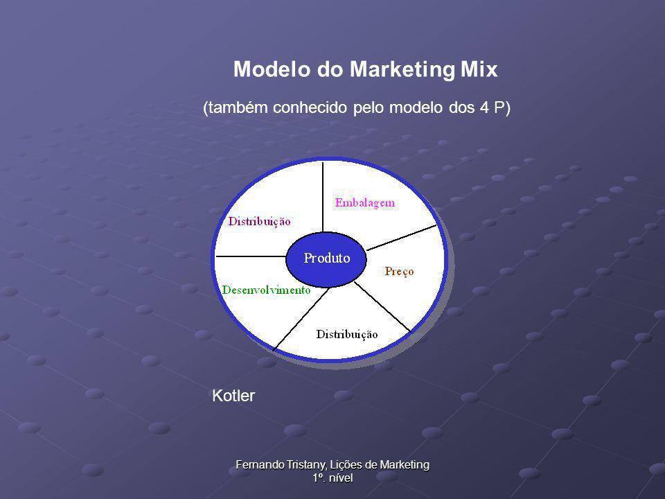 Fernando Tristany, Lições de Marketing 1º. nível Modelo do Marketing Mix (também conhecido pelo modelo dos 4 P) Kotler