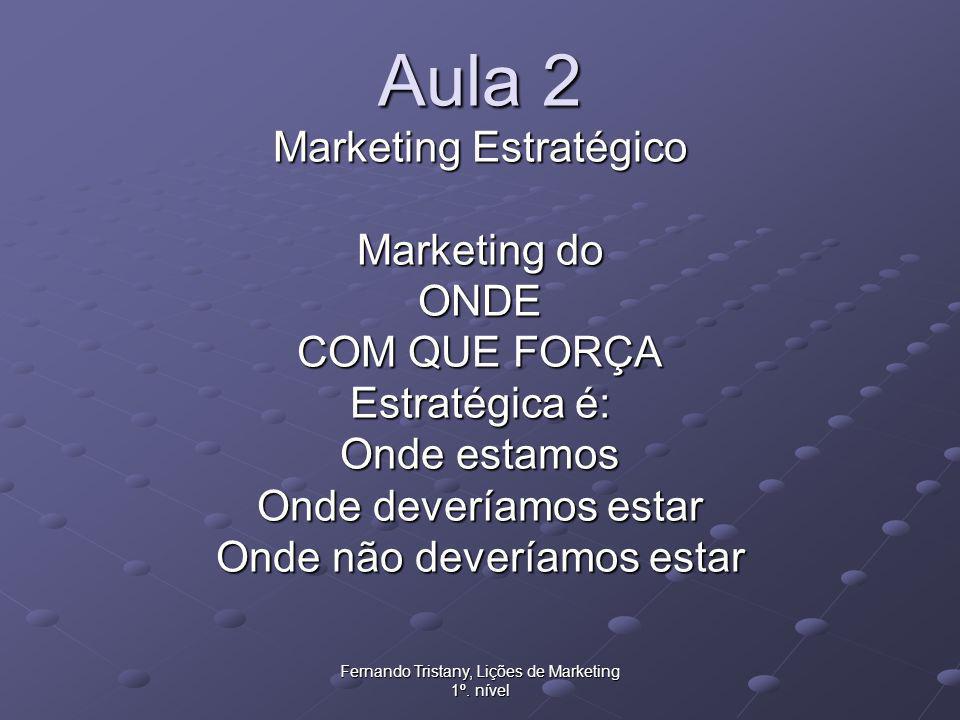 Fernando Tristany, Lições de Marketing 1º. nível Aula 2 Marketing Estratégico Marketing do ONDE COM QUE FORÇA Estratégica é: Onde estamos Onde devería