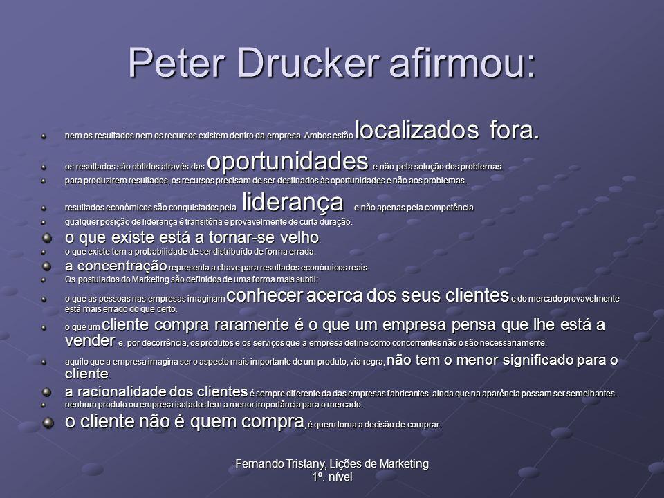Fernando Tristany, Lições de Marketing 1º. nível Peter Drucker afirmou: nem os resultados nem os recursos existem dentro da empresa. Ambos estão local