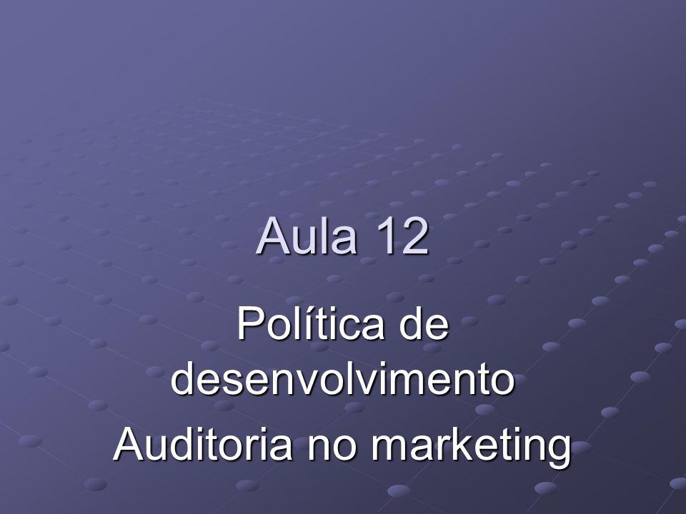 Aula 12 Política de desenvolvimento Auditoria no marketing
