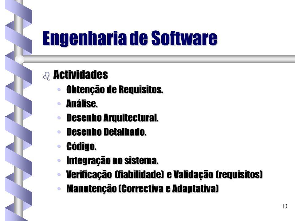 10 Engenharia de Software b Actividades Obtenção de Requisitos.Obtenção de Requisitos. Análise.Análise. Desenho Arquitectural.Desenho Arquitectural. D