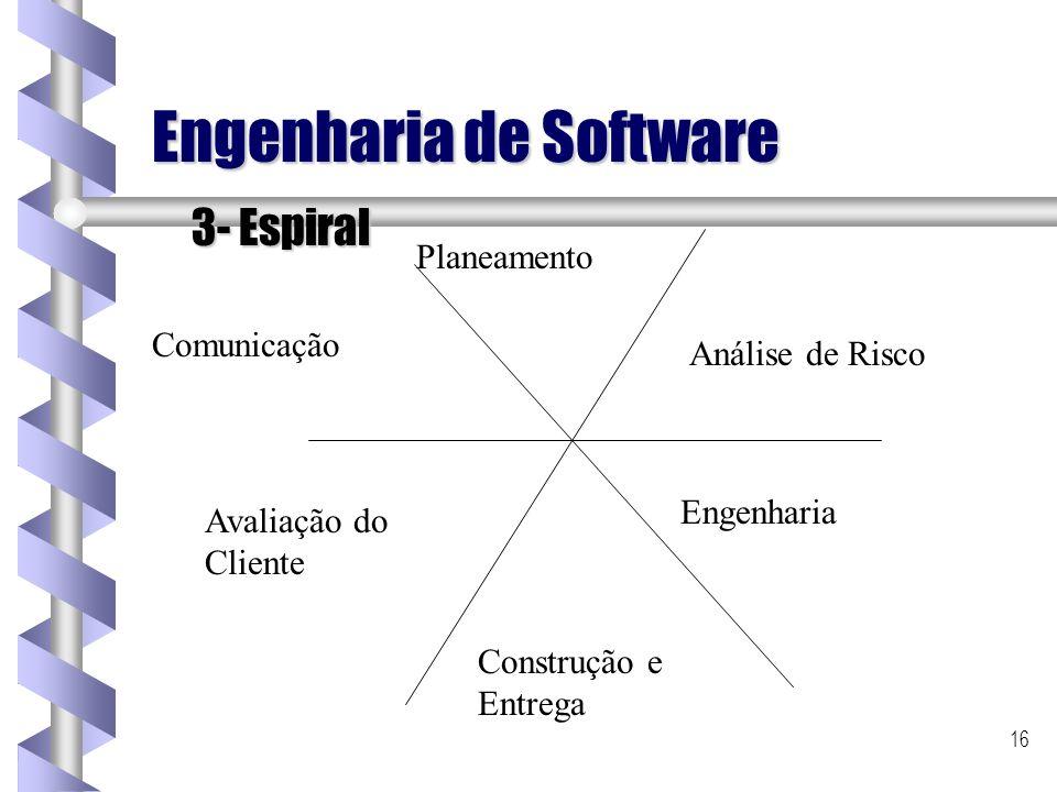 16 Engenharia de Software 3- Espiral Comunicação Planeamento Análise de Risco Engenharia Construção e Entrega Avaliação do Cliente