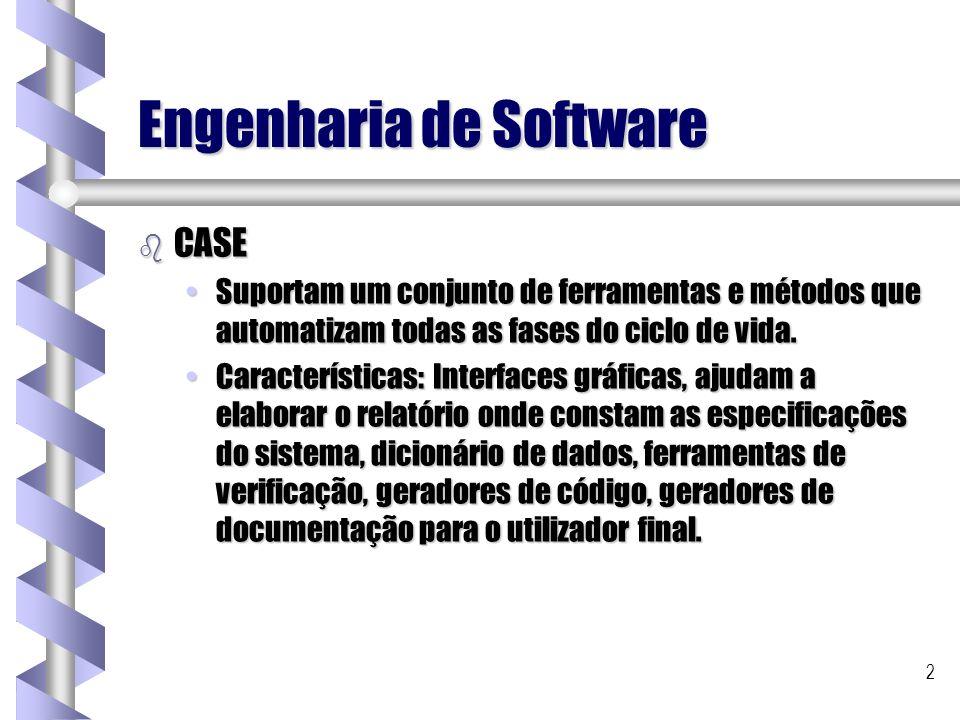 2 Engenharia de Software b CASE Suportam um conjunto de ferramentas e métodos que automatizam todas as fases do ciclo de vida.Suportam um conjunto de