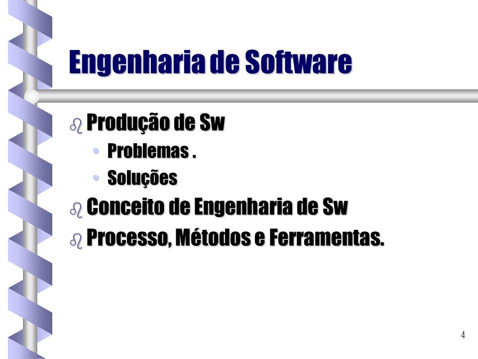 4 Engenharia de Software b Produção de Sw Problemas.Problemas. SoluçõesSoluções b Conceito de Engenharia de Sw b Processo, Métodos e Ferramentas.