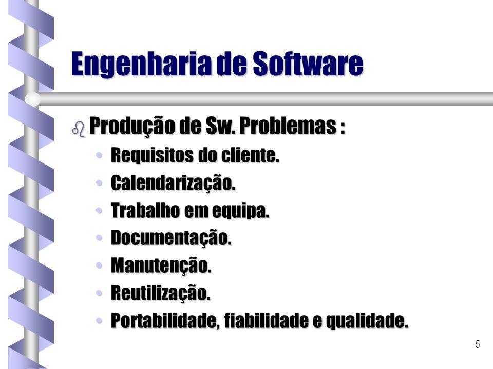 5 Engenharia de Software b Produção de Sw. Problemas : Requisitos do cliente.Requisitos do cliente. Calendarização.Calendarização. Trabalho em equipa.