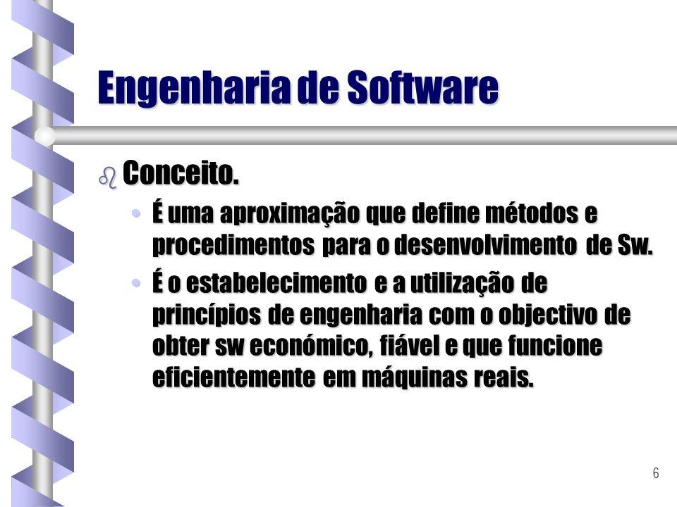 6 Engenharia de Software b Conceito. É uma aproximação que define métodos e procedimentos para o desenvolvimento de Sw.É uma aproximação que define mé