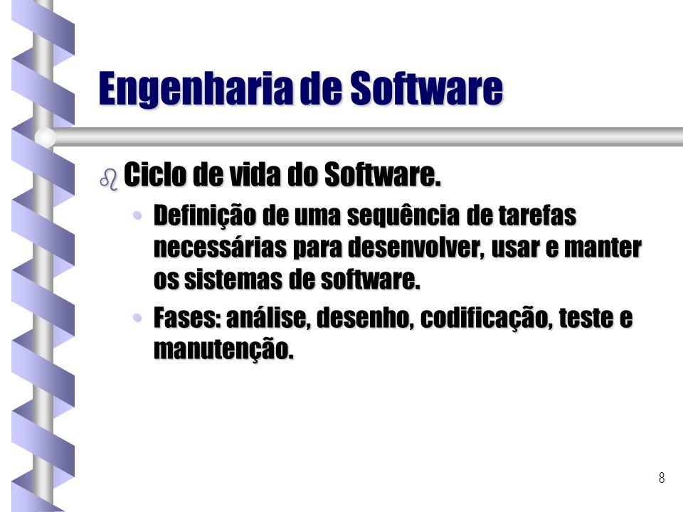 8 Engenharia de Software b Ciclo de vida do Software. Definição de uma sequência de tarefas necessárias para desenvolver, usar e manter os sistemas de