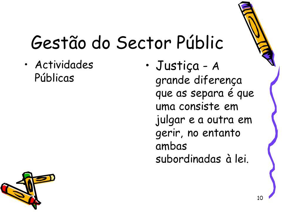 10 Gestão do Sector Públic Actividades Públicas Justiça - A grande diferença que as separa é que uma consiste em julgar e a outra em gerir, no entanto