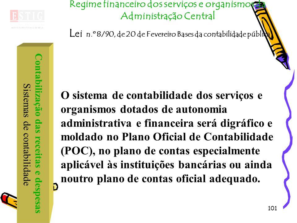 101 Contabilização das receitas e despesas Sistemas de contabilidade Regime financeiro dos serviços e organismos da Administração Central L ei n.º 8/9