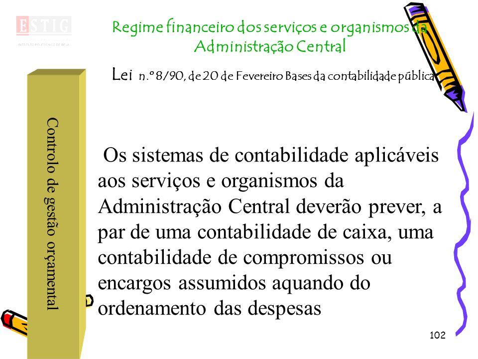102 Controlo de gestão orçamental Regime financeiro dos serviços e organismos da Administração Central L ei n.º 8/90, de 20 de Fevereiro Bases da cont