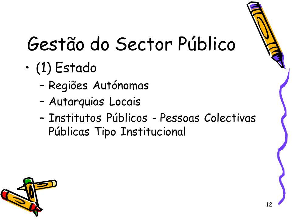 12 Gestão do Sector Público (1) Estado –Regiões Autónomas –Autarquias Locais –Institutos Públicos - Pessoas Colectivas Públicas Tipo Institucional