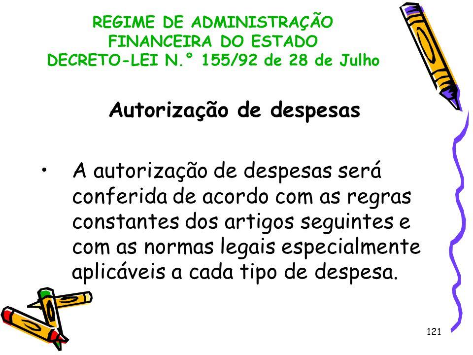 121 REGIME DE ADMINISTRAÇÃO FINANCEIRA DO ESTADO DECRETO-LEI N.° 155/92 de 28 de Julho Autorização de despesas A autorização de despesas será conferid