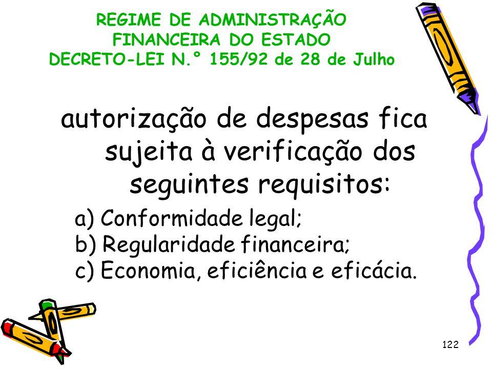 122 REGIME DE ADMINISTRAÇÃO FINANCEIRA DO ESTADO DECRETO-LEI N.° 155/92 de 28 de Julho autorização de despesas fica sujeita à verificação dos seguinte