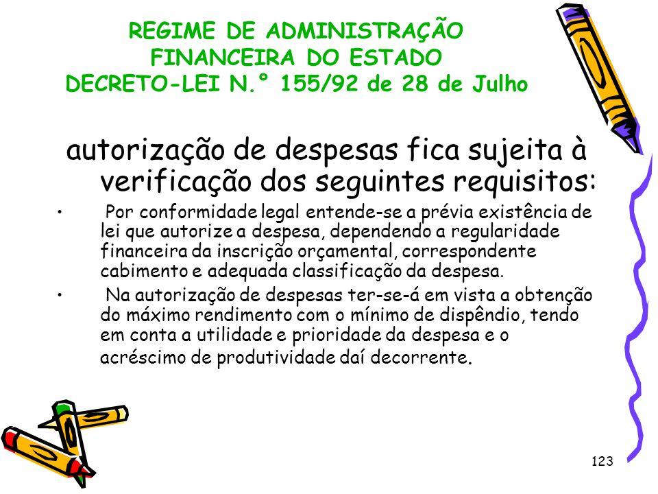 123 REGIME DE ADMINISTRAÇÃO FINANCEIRA DO ESTADO DECRETO-LEI N.° 155/92 de 28 de Julho autorização de despesas fica sujeita à verificação dos seguinte