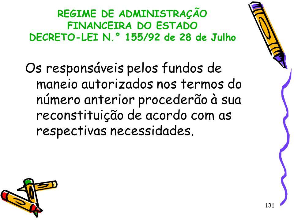 131 REGIME DE ADMINISTRAÇÃO FINANCEIRA DO ESTADO DECRETO-LEI N.° 155/92 de 28 de Julho Os responsáveis pelos fundos de maneio autorizados nos termos d
