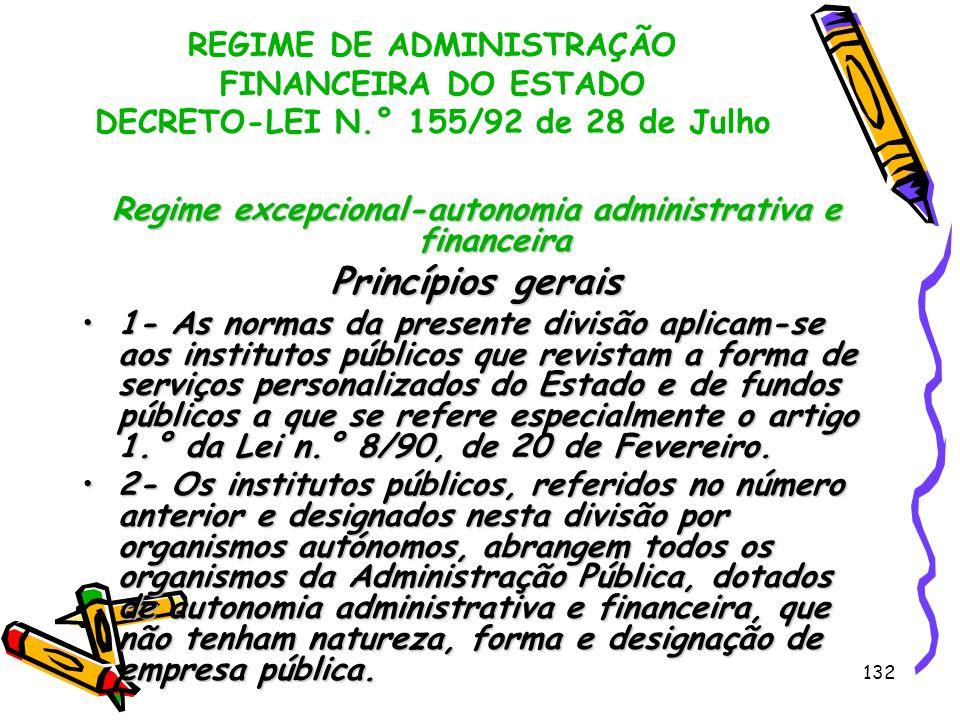 132 REGIME DE ADMINISTRAÇÃO FINANCEIRA DO ESTADO DECRETO-LEI N.° 155/92 de 28 de Julho Regime excepcional-autonomia administrativa e financeira Princí