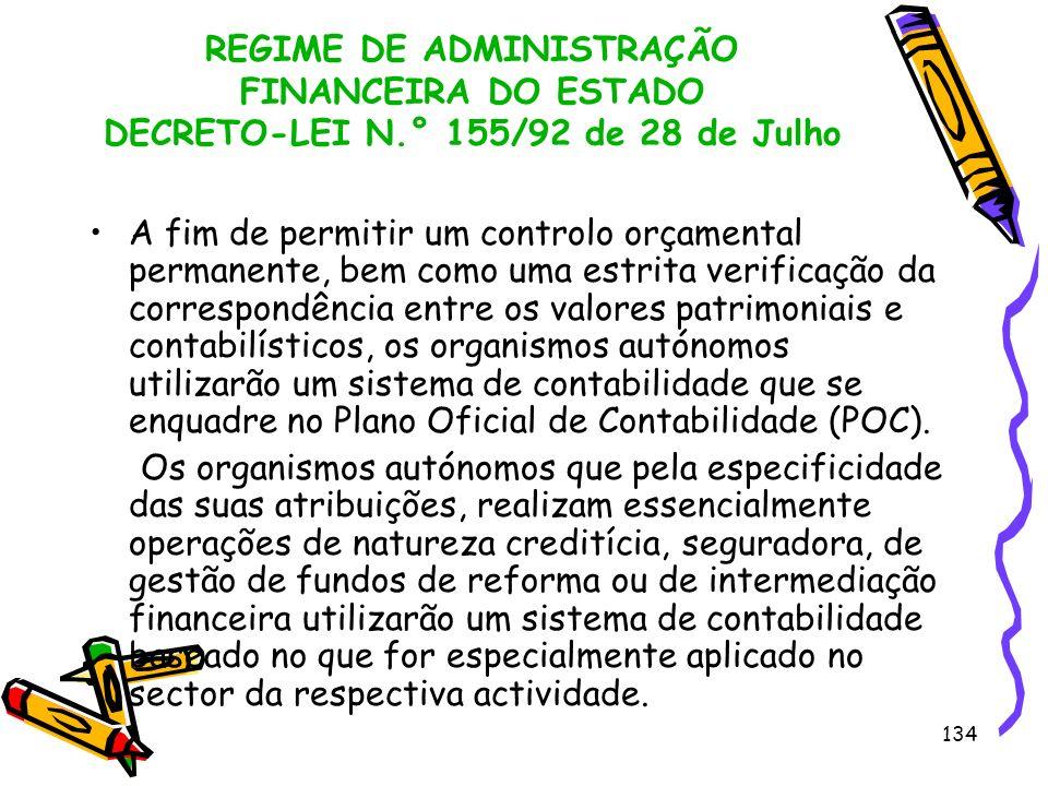 134 REGIME DE ADMINISTRAÇÃO FINANCEIRA DO ESTADO DECRETO-LEI N.° 155/92 de 28 de Julho A fim de permitir um controlo orçamental permanente, bem como u