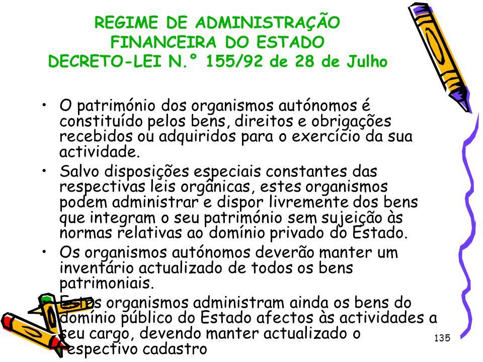 135 REGIME DE ADMINISTRAÇÃO FINANCEIRA DO ESTADO DECRETO-LEI N.° 155/92 de 28 de Julho O património dos organismos autónomos é constituído pelos bens,