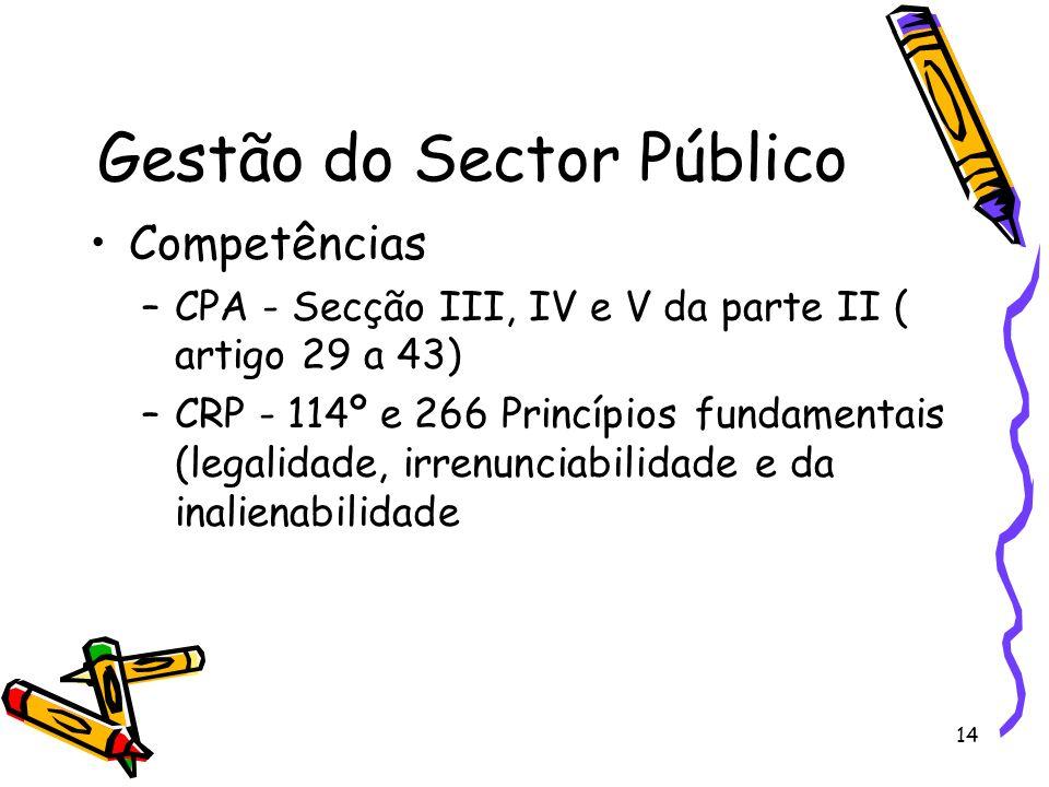 14 Gestão do Sector Público Competências –CPA - Secção III, IV e V da parte II ( artigo 29 a 43) –CRP - 114º e 266 Princípios fundamentais (legalidade