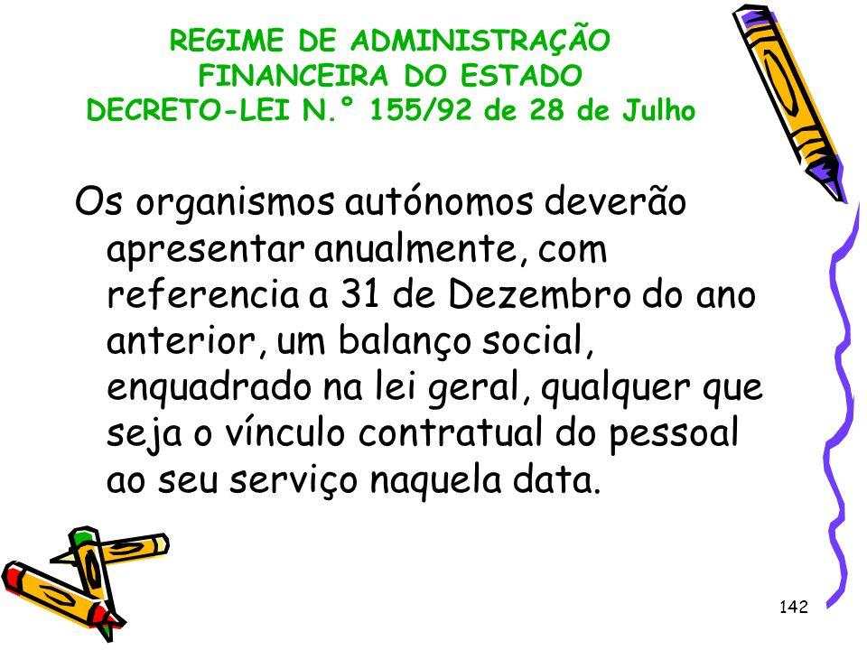 142 REGIME DE ADMINISTRAÇÃO FINANCEIRA DO ESTADO DECRETO-LEI N.° 155/92 de 28 de Julho Os organismos autónomos deverão apresentar anualmente, com refe