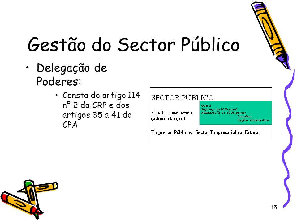 15 Gestão do Sector Público Delegação de Poderes: Consta do artigo 114 nº 2 da CRP e dos artigos 35 a 41 do CPA