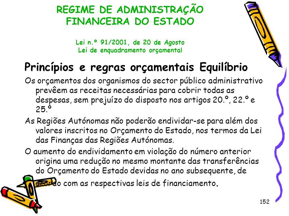 152 REGIME DE ADMINISTRAÇÃO FINANCEIRA DO ESTADO Lei n.º 91/2001, de 20 de Agosto Lei de enquadramento orçamental Princípios e regras orçamentais Equi