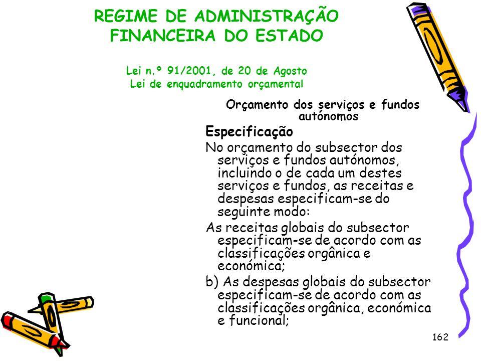 162 REGIME DE ADMINISTRAÇÃO FINANCEIRA DO ESTADO Lei n.º 91/2001, de 20 de Agosto Lei de enquadramento orçamental Orçamento dos serviços e fundos autó