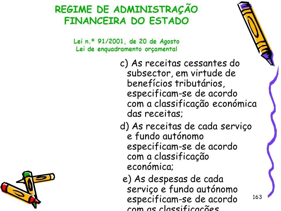 163 REGIME DE ADMINISTRAÇÃO FINANCEIRA DO ESTADO Lei n.º 91/2001, de 20 de Agosto Lei de enquadramento orçamental c) As receitas cessantes do subsecto