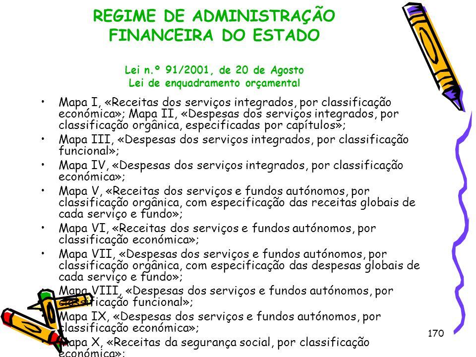 170 REGIME DE ADMINISTRAÇÃO FINANCEIRA DO ESTADO Lei n.º 91/2001, de 20 de Agosto Lei de enquadramento orçamental Mapa I, «Receitas dos serviços integ
