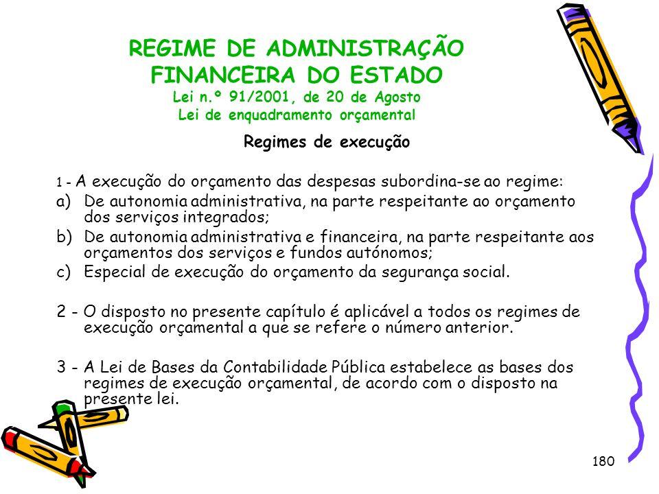 180 REGIME DE ADMINISTRAÇÃO FINANCEIRA DO ESTADO Lei n.º 91/2001, de 20 de Agosto Lei de enquadramento orçamental Regimes de execução 1 - A execução d