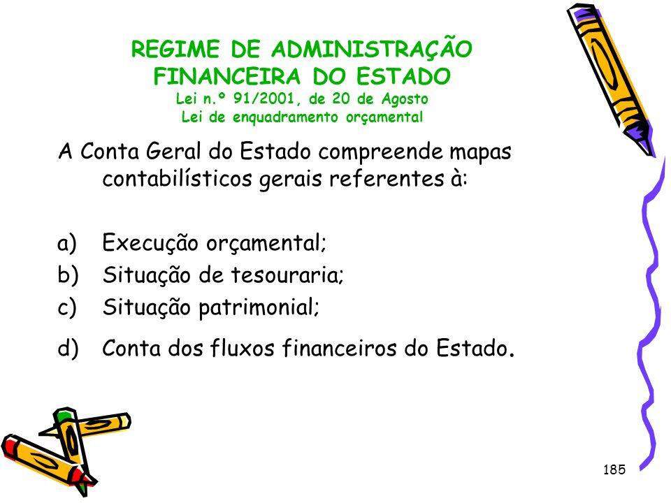 185 REGIME DE ADMINISTRAÇÃO FINANCEIRA DO ESTADO Lei n.º 91/2001, de 20 de Agosto Lei de enquadramento orçamental A Conta Geral do Estado compreende m