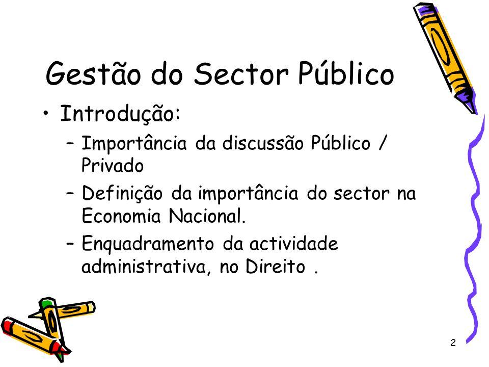 2 Gestão do Sector Público Introdução: –Importância da discussão Público / Privado –Definição da importância do sector na Economia Nacional. –Enquadra