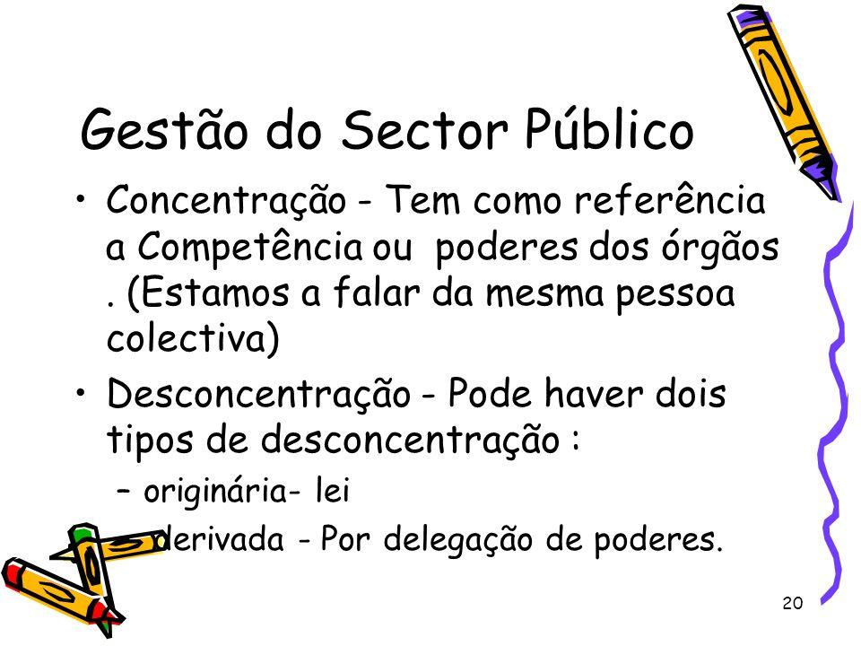 20 Gestão do Sector Público Concentração - Tem como referência a Competência ou poderes dos órgãos. (Estamos a falar da mesma pessoa colectiva) Descon