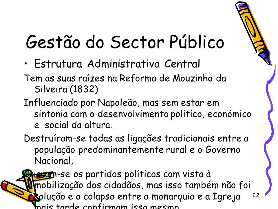 22 Gestão do Sector Público Estrutura Administrativa Central Tem as suas raízes na Reforma de Mouzinho da Silveira (1832) Influenciado por Napoleão, m