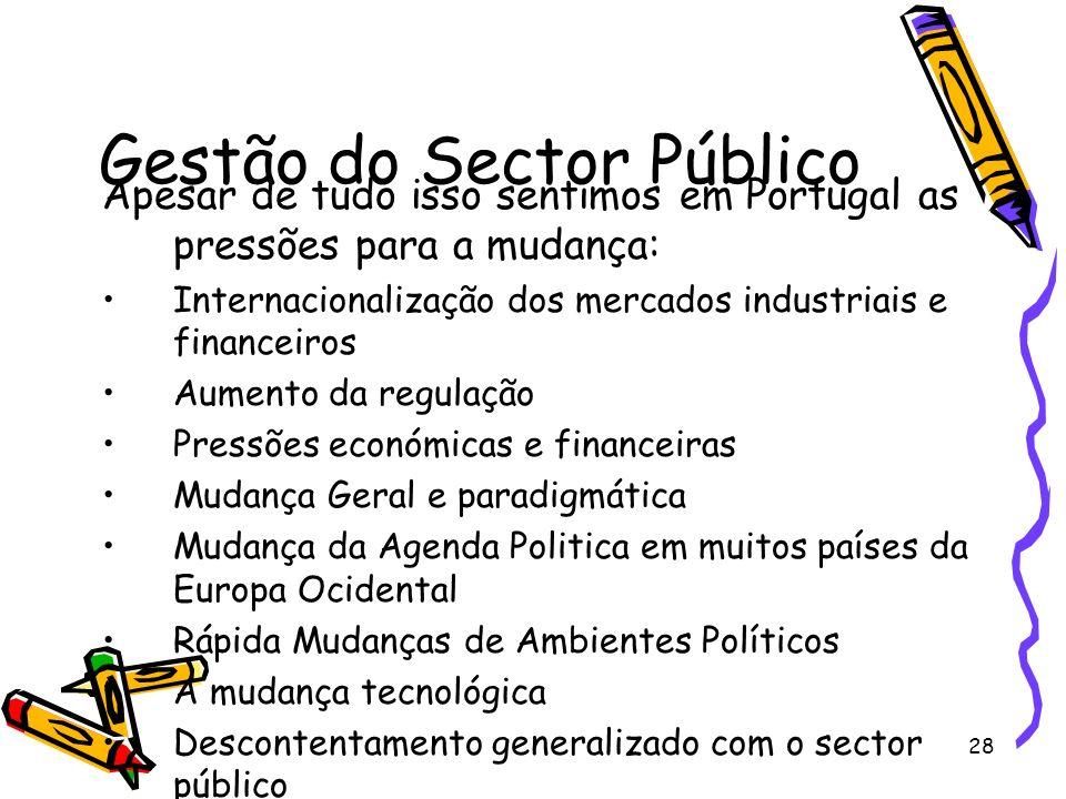 28 Gestão do Sector Público Apesar de tudo isso sentimos em Portugal as pressões para a mudança: Internacionalização dos mercados industriais e financ