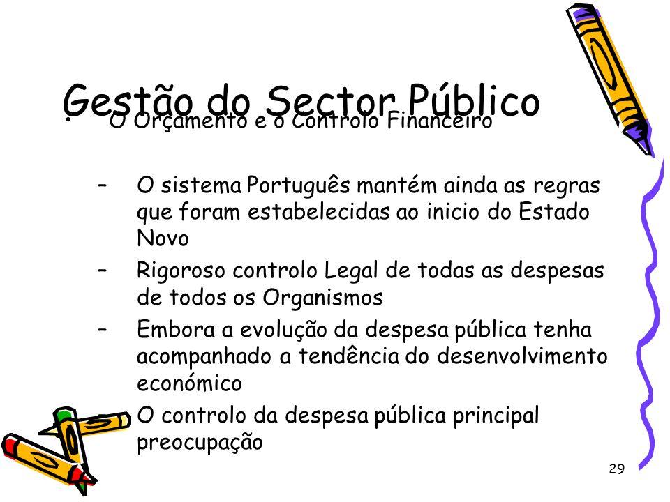 29 Gestão do Sector Público O Orçamento e o Controlo Financeiro –O sistema Português mantém ainda as regras que foram estabelecidas ao inicio do Estad